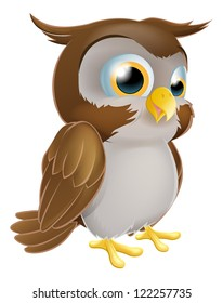 An illustration of a cute standing cartoon owl character