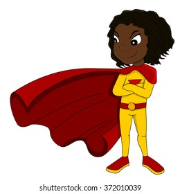 Illustration of cute superhero African American girl wearing yellow costume and red cape, isolated on white