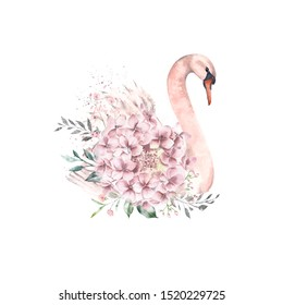Illustration of a cute swan with flowers and leaves decoration. Watercolor.
