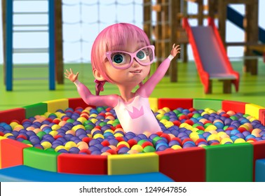 Illustration of a cute toon girl playing in a balls pool at a playground in the park. Funny cartoon character of a little pretty girl with glasses and pink anime hairs. Clipping path. 3D illustration.