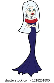 Illustration a cute vampire woman with fangs in an evening dress