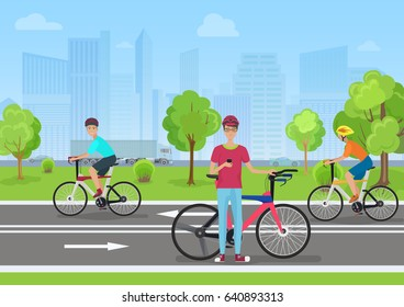 illustration of cyclists in the park. Man cyclist using his phone. Cyclists walk in the Park on the modern city backround.