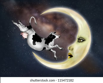 Illustration of a dairy cow jumping over the moon