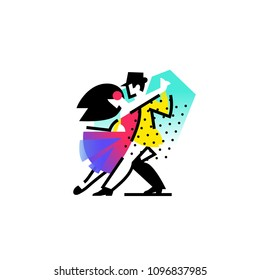 Illustration of a dancing man and woman. Icon ballroom, sports dances. Tango, waltz, Latin American dances.  Logo for the dance studio. Abstract image.