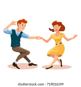 illustration of dancing men and woman in cartoon flat style. Dance party concept with girl and boy. Illustration of dancing couple of happy young people isolated