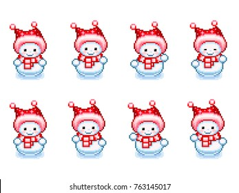 Illustration of dancing snowman sprite sheet in Pixel-Art style isolated on white background. Can be used for GIF animation