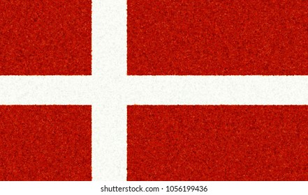 Illustration of a Danish flag with a blossom pattern