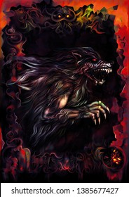 Illustration a dark background with a werewolf inside a sinister frame. Digital painting