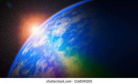 illustration of dawn sunrise over the earth with rainbow flare