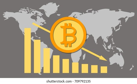 illustration of the decline rate of bitcoin on a world map background. Cryptocurrency Market Manipulation