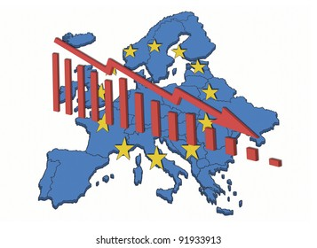 Illustration of declining trends in the European Union and the Euro. European map with symbols and declining diagram.