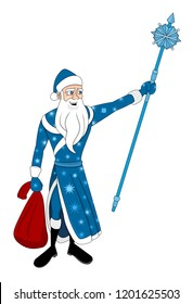 Illustration of Ded Moroz (Old Man Frost), Slavic analog to Santa Claus, he's wearing a blue coat and cap, isolated on a white background