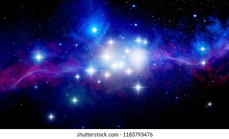 Illustration of a deep space nebula or galaxy. Star formation.