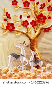 Illustration of deers with golden tree, red flowers background