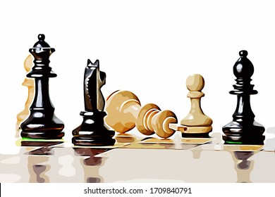 Illustration of the defeat of the white chess player by the black payer close up with a reflective chess board
