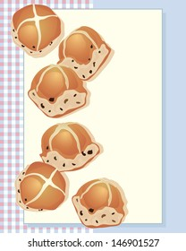 an illustration of delicious hot cross buns freshly baked from the oven on a gingham background and space for text