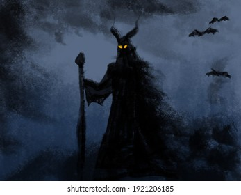 illustration of a demonic creature with a staff in hand and piercing eyes on its face. Frightening monster, dramatic abstract painting
