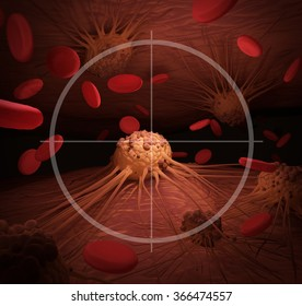 An illustration depicting Cancer Cells in the crosshairs, related to cancer treatment.
