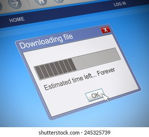 Illustration depicting a computer message box with a slow download concept.