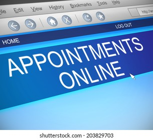 Illustration depicting a computer screen capture with an appointment concept.