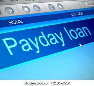 Illustration depicting a computer screen capture with a payday loans concept.