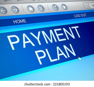 Illustration depicting a computer screen capture with a payment plan concept.