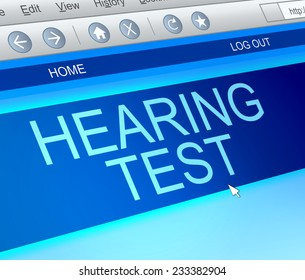 Illustration depicting a computer screen capture with a hearing test concept.