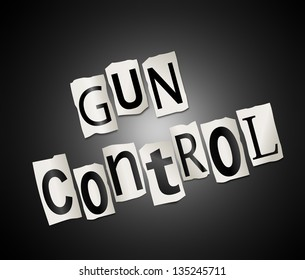 Illustration depicting cut out letters arranged to form the words gun control.