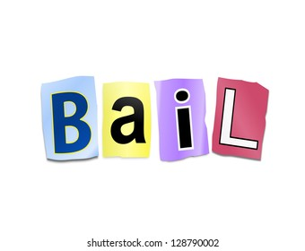 Illustration depicting cutout printed letters arranged to form the word bail.