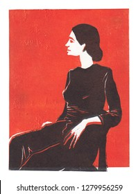 Illustration depicting a girl on a red background in linocut. Can be used as a print on clothing, postage stamp, postcard