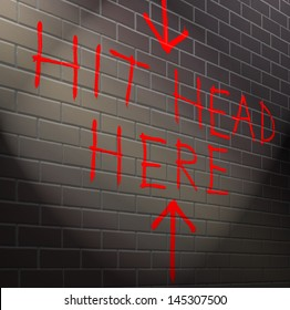 Illustration depicting graffiti on a brick wall with a hopeless concept.