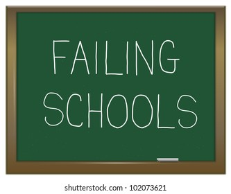 Illustration depicting a green chalk board with a failing schools concept.