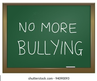 Illustration depicting a green chalk board with the words 'no more bullying' written on it in white chalk.