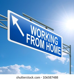 Illustration depicting a highway gantry sign with a working from home concept. Blue sky background.