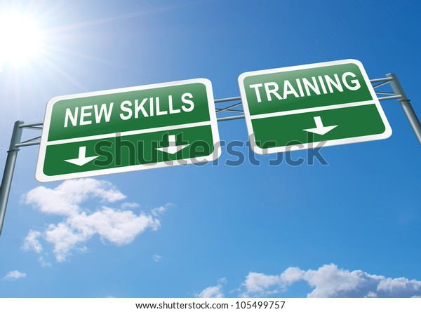 Illustration depicting a highway gantry sign with a new skills and training concept. Blue sky background.