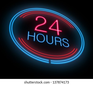 Illustration depicting an illuminated neon 24 hours sign.
