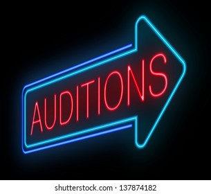 Illustration depicting an illuminated neon auditions sign.