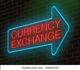 Illustration depicting an illuminated neon sign with a currency exchange concept.