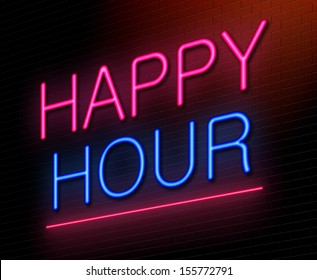 Illustration depicting an illuminated neon sign with a happy hour concept.