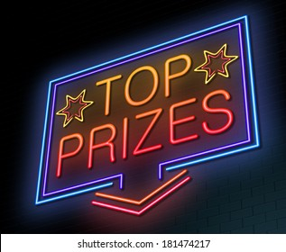 Illustration depicting an illuminated neon sign with a top prizes concept.