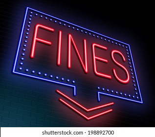 Illustration depicting an illuminated neon sign with a fines concept.