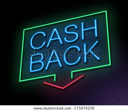 Illustration depicting an illuminated neon sign with a cashback concept.