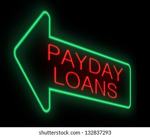 Illustration depicting a neon sign with a payday loans concept.