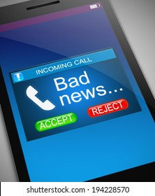 Illustration depicting a phone with a bad news concept.