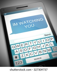 Illustration depicting a phone with a watching concept.