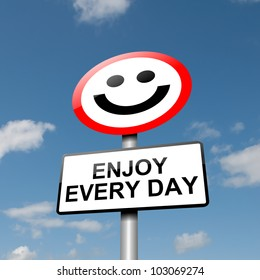 Illustration depicting a road traffic sign with a happiness concept. Blue sky background.