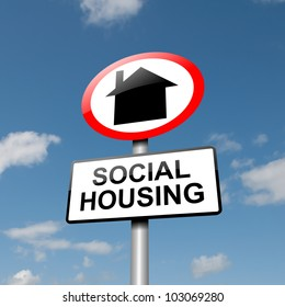 Illustration depicting a road traffic sign with a social housing concept. Blue sky background.