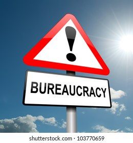 Illustration depicting a road traffic sign with a bureaucracy concept. Blue sky background.