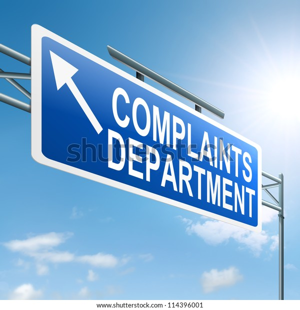 Illustration depicting a roadsign with a complaints department concept. Sky background.