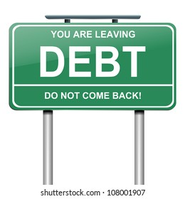 Illustration depicting a roadsign with a debt concept. White background.